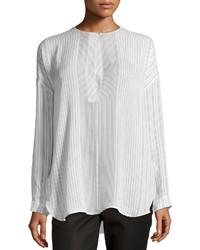 Blusa de manga larga de rayas verticales blanca