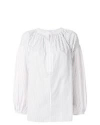 Blusa de manga larga de rayas verticales blanca de Sonia Rykiel