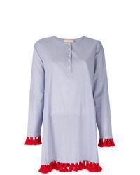 Blusa de manga larga de rayas verticales celeste de Tory Burch