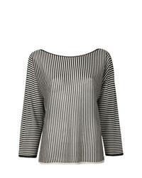 Blusa de manga larga de rayas verticales en blanco y negro de Twin-Set