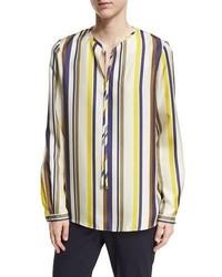 Blusa de manga larga de rayas verticales en multicolor