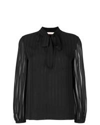 Blusa de manga larga de rayas verticales negra de Tory Burch