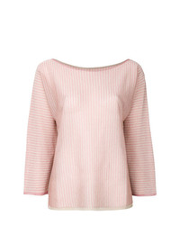 Blusa de manga larga de rayas verticales rosada de Twin-Set