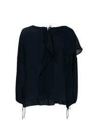 Blusa de manga larga de seda azul marino de Christian Wijnants