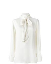 Blusa de manga larga de seda blanca de Lanvin