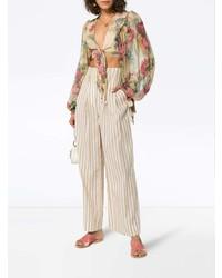 Blusa de manga larga de seda con print de flores en multicolor de Zimmermann