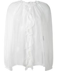 Blusa de Manga Larga de Seda Con Volante Blanca de Dolce & Gabbana