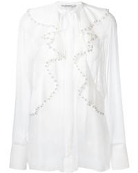 Blusa de Manga Larga de Seda Con Volante Blanca de Givenchy