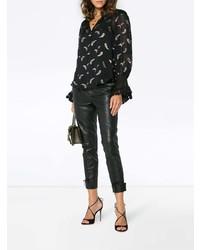 Blusa de manga larga de seda de paisley negra de Chloé