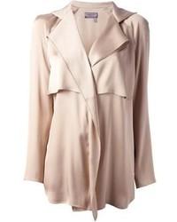 Blusa de manga larga de seda en beige