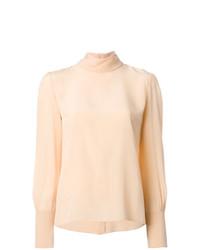 Blusa de manga larga de seda en beige de Chloé