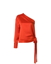 Blusa de manga larga de seda naranja de MSGM