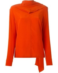 Blusa de manga larga de seda naranja de Stella McCartney
