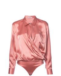 Blusa de manga larga de seda rosada de T by Alexander Wang