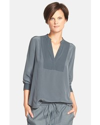 Blusa de manga larga en gris oscuro