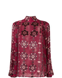 Blusa de manga larga estampada burdeos