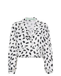 Blusa de manga larga estampada en blanco y negro