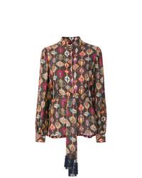 Blusa de manga larga estampada en marrón oscuro de Michel Klein