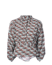 Blusa de manga larga estampada gris de Apiece Apart