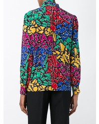Blusa de Manga Larga Estampada Multicolor de Saint Laurent
