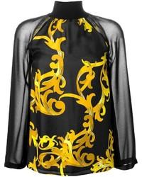 Blusa de manga larga estampada negra de Versace