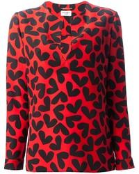 Blusa de manga larga estampada roja