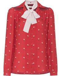 Blusa de manga larga estampada roja de Valentino