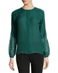 Blusa de manga larga verde oscuro