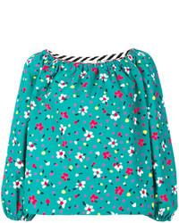 Blusa de seda bordada en turquesa de Marc Jacobs