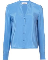Blusa de seda celeste de Diane von Furstenberg