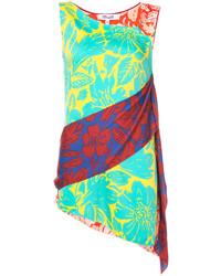 Blusa de seda con print de flores en turquesa de Diane von Furstenberg