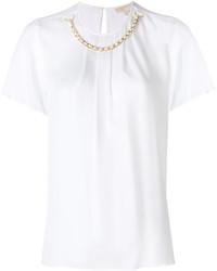 Blusa de seda con volante blanca de MICHAEL Michael Kors