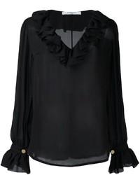 Blusa de seda con volante negra de Givenchy