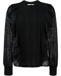 Blusa de seda con volante negra de See by Chloe