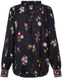 Blusa de seda estampada negra de Kate Spade