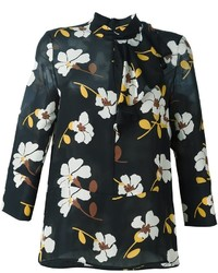Blusa de seda estampada negra de Marni