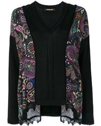 Blusa de seda estampada negra de Roberto Cavalli