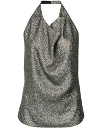 Blusa de seda plateada de Lanvin