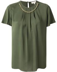 Blusa de seda verde oliva de MICHAEL Michael Kors