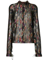 Blusa ligera bordada negra de Saint Laurent