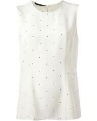Blusa sin mangas a lunares en blanco y negro de Calvin Klein