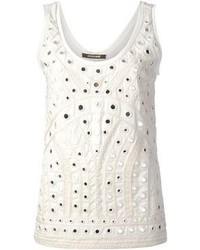 Blusa sin mangas con adornos blanca de Roberto Cavalli