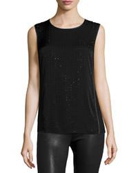 Blusa sin mangas con adornos negra