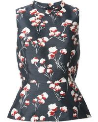 Blusa sin mangas con print de flores azul marino