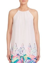 Blusa sin mangas con print de flores blanca