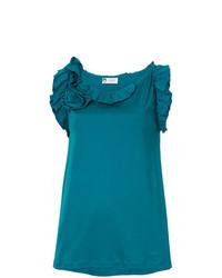 Blusa sin mangas con volante en verde azulado de Lanvin