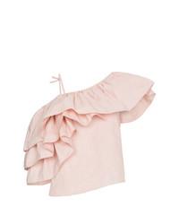 Blusa sin mangas con volante rosada de MARQUES ALMEIDA