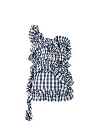Blusa sin mangas de cuadro vichy azul marino de Erika Cavallini