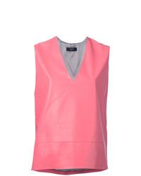 Blusa sin mangas de cuero rosa de Lanvin