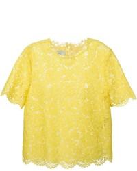 Blusa sin mangas de encaje amarilla de Valentino